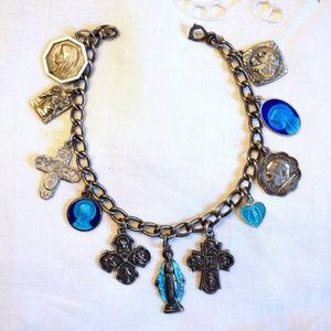 Vintage Sterling Catholic Medals Enamel Bracelet